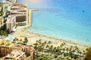 Sunny sandy beach Alicante, Spain