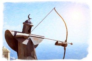 Metal Archer in the fortress of Santa Barbara