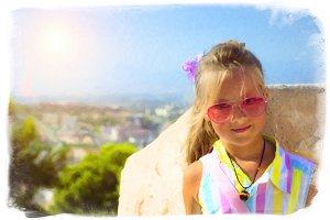 Girl in pink glasses, castle Santa Barbara