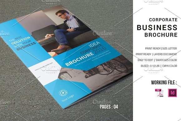 Corporate Brochure Template V598 Brochure Templates Creative Market