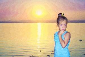 Pensive girl against a pink sunset over salt lake