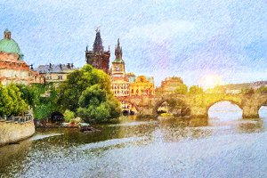 View to the Charles Bridge, Prague
