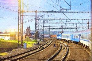 Passenger train departs from station of Prague