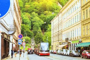 High-tech tram on street, Prague, Czech Republic