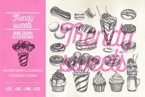 Hand drawn trendy sweets