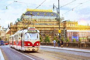 Old tram Skoda on bridge of Legions, Prague