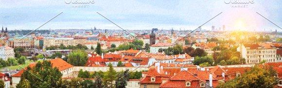 Prague, Czech Republic. Old Town over Vltava river - Illustrations