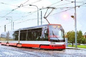 High-tech trams on bridge, Prague