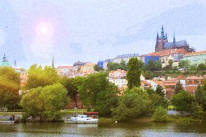 Prague Castle over Vltava river