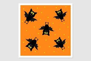 Cute bats on orange background.