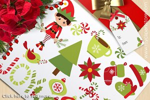 Christmas Elf, Snowman Clipart
