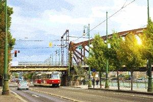 Retro tram, Prague, Czech Republic