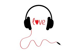 Black headphones. Love card