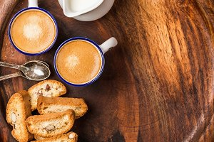 Coffee espresso, cookies and milk