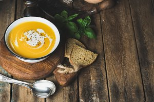 Pumpkin cream soup in bowl