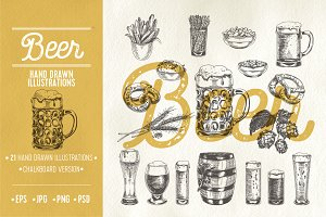 Hand drawn beer illustrations
