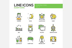 Sleep - Line Icons Set