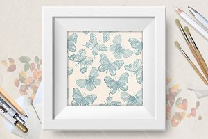 Set of seamless butterfly patterns