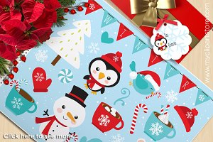Christmas, Snowman, Penguin Clipart