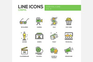 Cinema - Line Icons Set