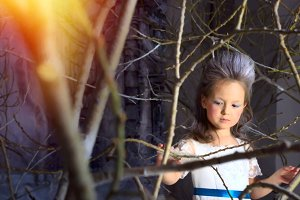 Snow Princess in winter fairy forest
