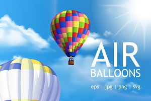 Air balloons realistic set