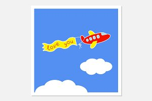 Cartoon plane. Love greeting cards.