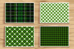 4 seamless tartan patterns. Green.