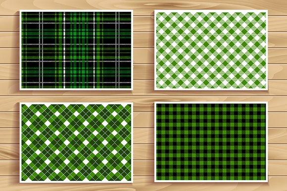 4 seamless tartan patterns. Green. - Graphics