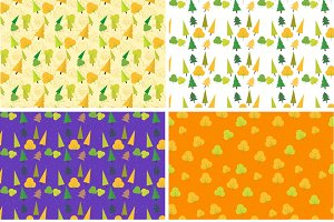 6 Flat Autumn Patterns Set