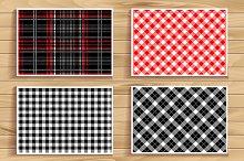 4 seamless tartan patterns.
