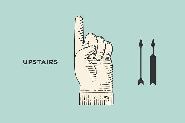 Hand sign upstairs
