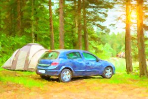 Car parked in campsite