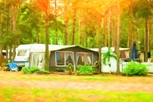 Scandinavian camping in camps and tents. Stylized photo