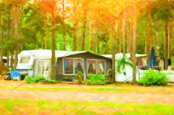 Scandinavian camping in camps and tents. Stylized photo - Illustrations