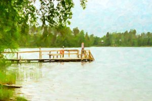 Wooden boat dock on lake