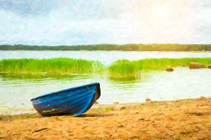 Blue boat on sandy shore