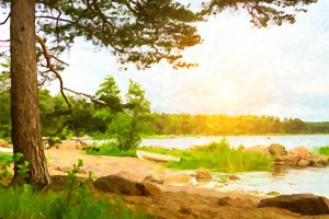 Scandinavian camping at lake. Stylized photo
