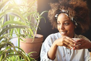 Attractive young African woman with Afro haircut wearing trendy white shirt and do-rag relaxing indoors, holding cup of hot tea or coffee, smiling and looking through window surrounded with flowers