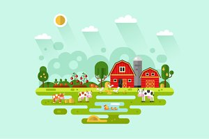 Farm with Animals Vector