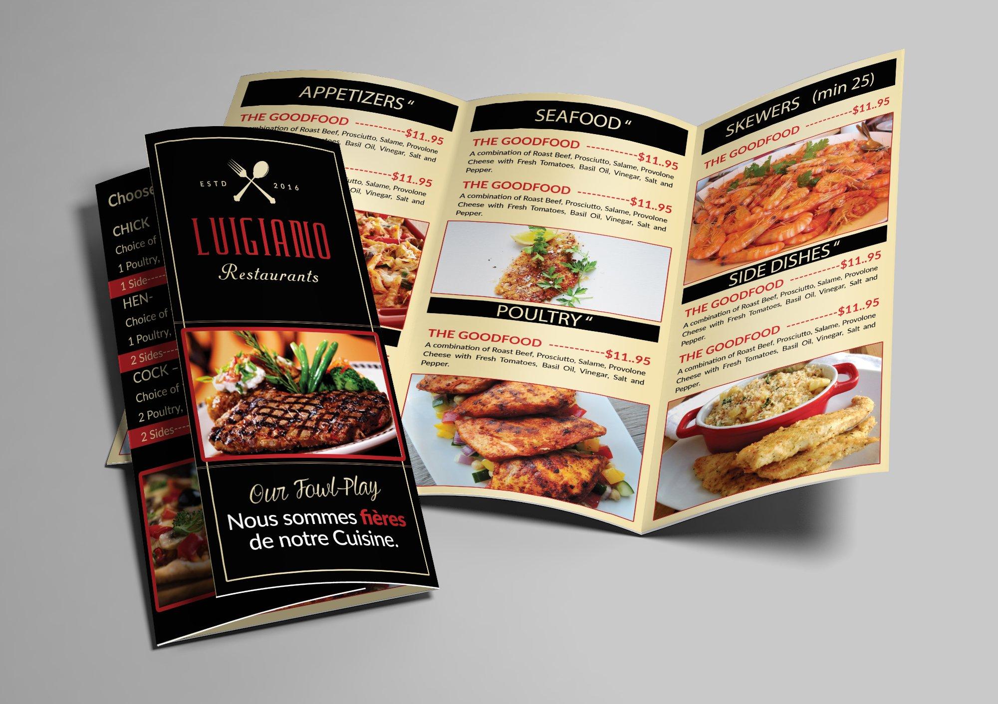 restaurant food menu trifold brochure templates creative market
