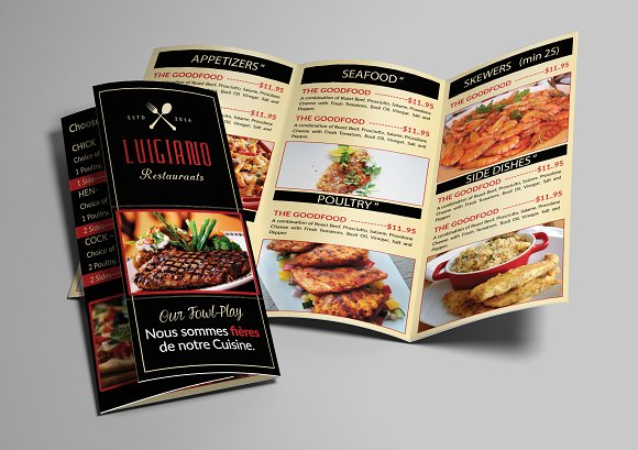 restaurant food menu trifold brochure templates creative market