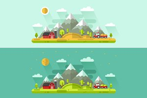 Day & Night on the Farm Vector