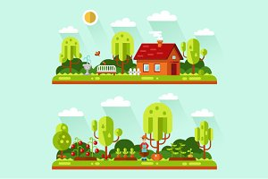 House & Garden Vector Illustration