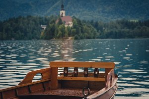 Boat at lake Bled on a rainy day