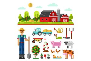 Farm, Farmer, Animals, Tools