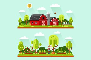 Farm Barn & Garden Vector