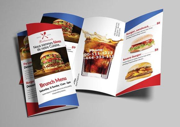 fast food menu trifold brochure brochure templates creative market