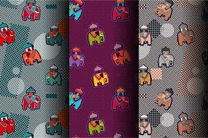 3 Cartoon Patterns, retro style