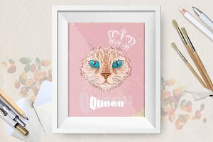 Hand drawn vector cat with crown